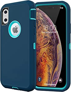 Diverbox Compatible with iPhone Xs Case,iPhone X Case [Shockproof] [Dropproof] [Dust-Proof],Heavy Duty Protection Phone Case Cover for Apple iPhone Xs and X (Turquoise)