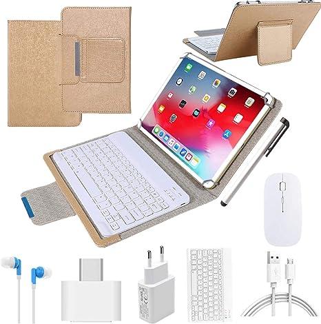 Tablets 10.1 Pulgadas Android 9.0 Tablet PC 64Go ROM 4Go RAM, Quad-Core 4G LTE Dual SIM Call 8MP 8000mAh, Rápido Tablets Baratas 2 en 1 con Teclado y ...