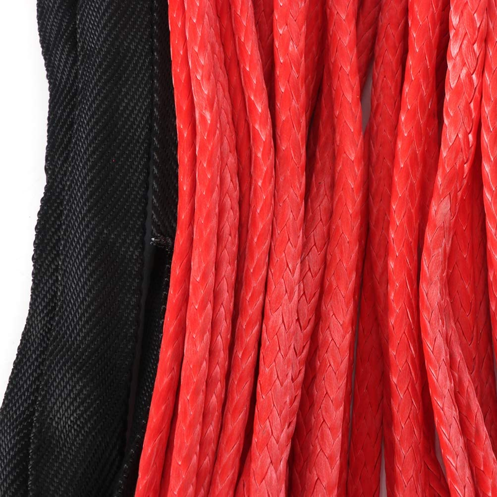 Red 8000 lb TUPARTS 50 X 1//4 Synthetic Winch Rope Cable Line Extension Replacement 4WD ATV UTV Truck Boat Trailer Off Road Recovery Winch Rope with Sheath