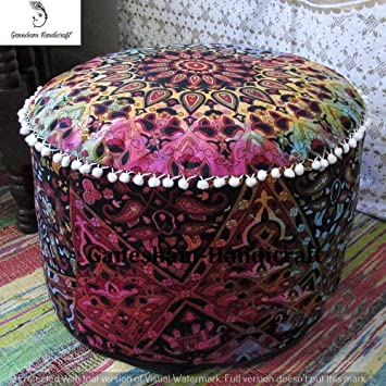 Outstanding Ganesham Indian Mandala Hippie Bohemian Tapestry Pouf Ottoman Handmade Pouf Cover Decorative Round Floor Pillow Foot Stool Seating Pouf Home Decor Machost Co Dining Chair Design Ideas Machostcouk