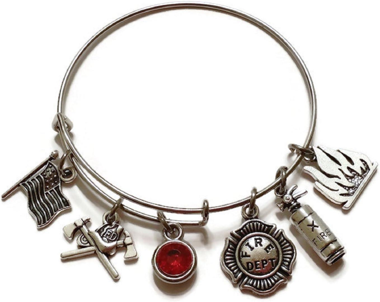 Mother/'s Day Fireman Wife Daughter Sister Bracelet Fire Hat Firefighter Charm Bracelet Gift For Her Fire Wife Gift