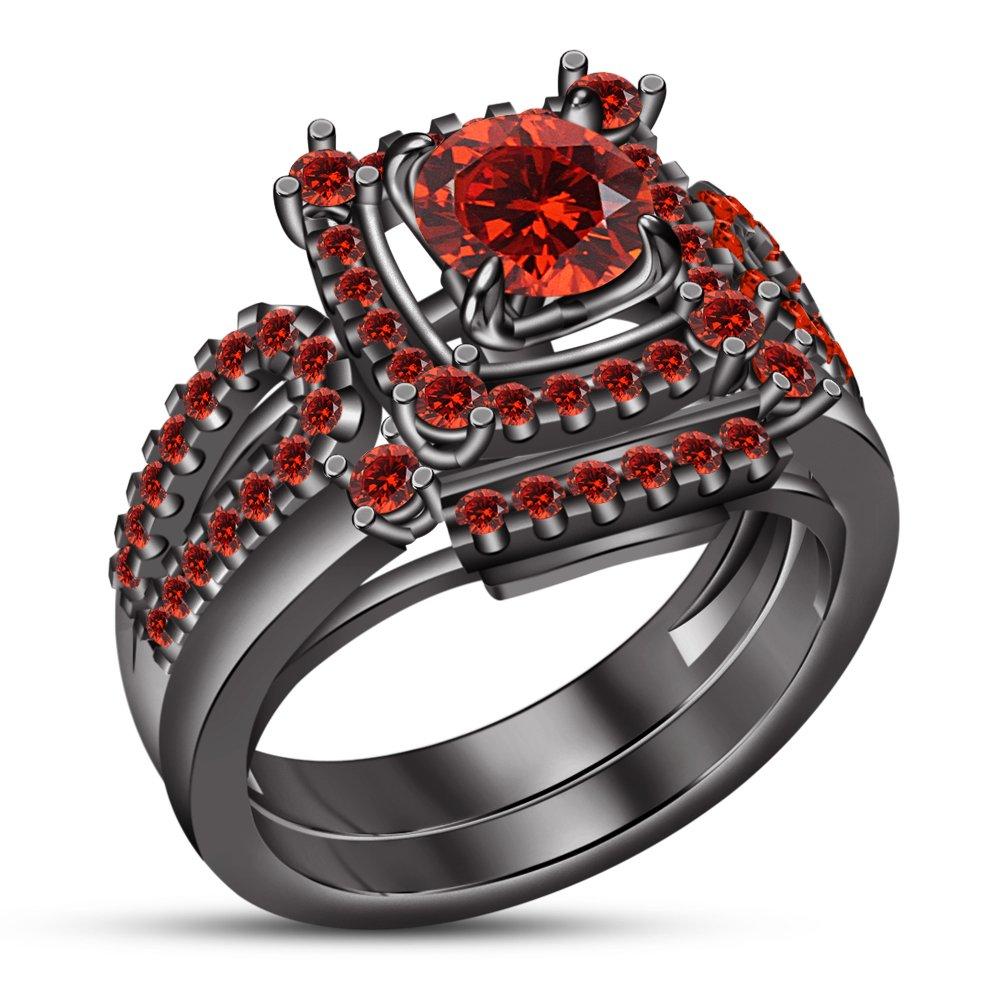 TVS-JEWELS Black Plated 925 Silver Red Garnet Gemstone 2 Pcs Wedding Engagement Bridal Ring Set (8.25)
