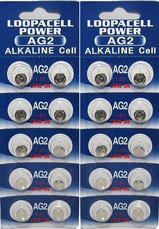 Amazon.com: LOOPACELL 20 x AG2 pilas alcalinas de botón ...