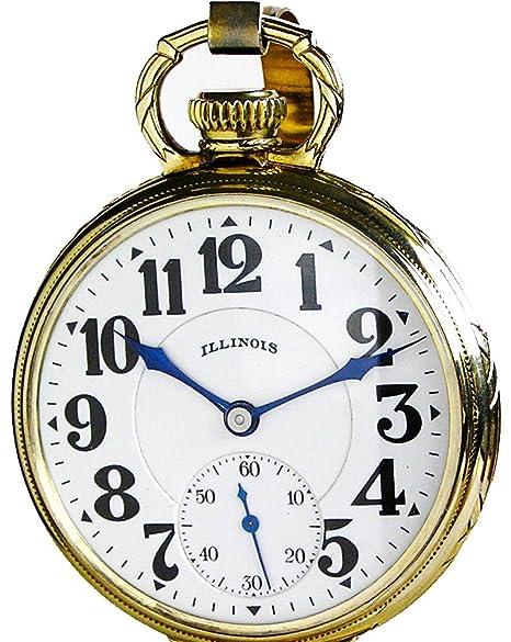 Illinois Sangamo Railroad reloj de bolsillo antiguo especial 17 tamaño 23 joyas alrededor de 1925: Amazon.es: Relojes