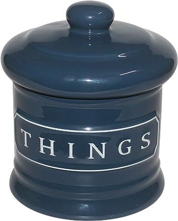 Lonovel - Bote organizador de almacenamiento de cerámica para baño, bolas de algodón, bañeras, cosméticos, esponjas de