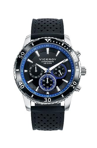 Viceroy 401125-57 Reloj de Hombre Cuarzo Acero Caucho Tamaño 44 mm: Amazon.es: Relojes