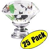KES HCK700-P25 Cabinet Knob Diamond Shape Crystal Glass Hand Pull, 25 Pack