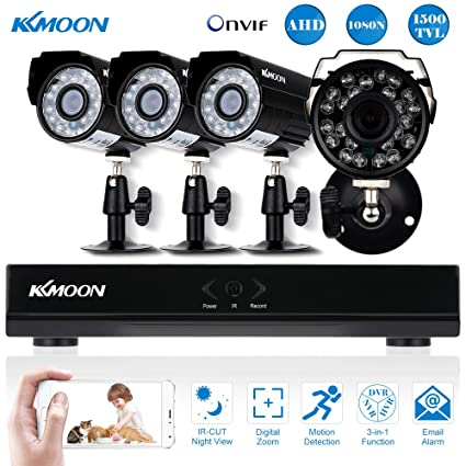KKmoon Kit Seguridad CCTV 4CH Full AHD 1080N/720P DVR HDMI + 4x 1500TVL Cámara