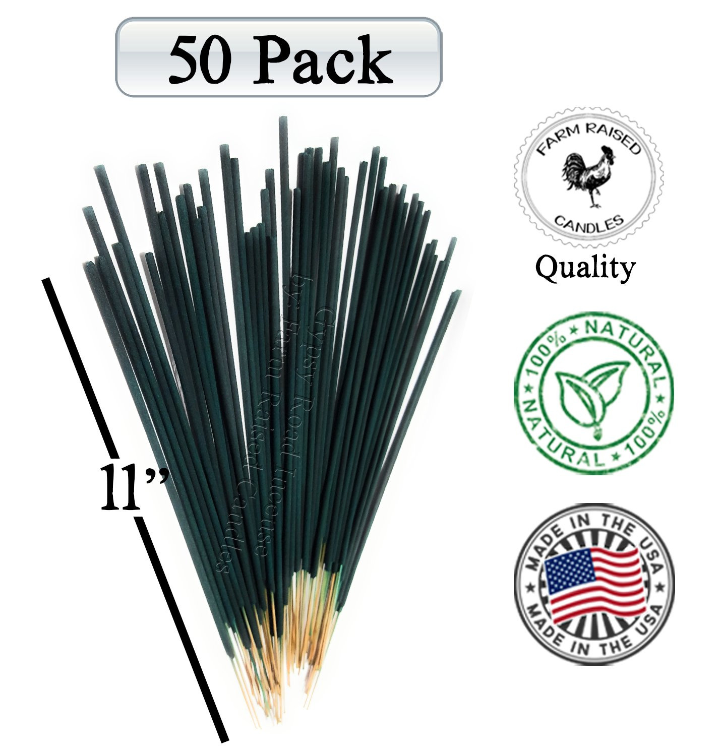 Farm Raised Candles Mintronella Essential Oil Mosquito Gnats Repellent (50 Pack) Citronella Outdoor incense sticks 100% Natural Bamboo Outdoor Deck Patio Party. American Made Organic