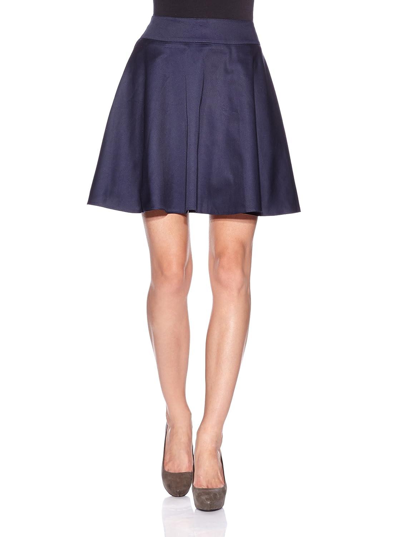 Nife Stylish pleated skirt with figure hugging waist, navy blue
