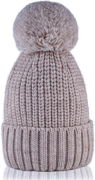 The Hat Depot Kids Cuffed Beanie Knit Stripe Pom Winter Hat