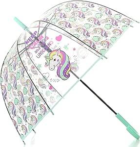 Unicorn Transparent Stick Kids Umbrella (Aqua)