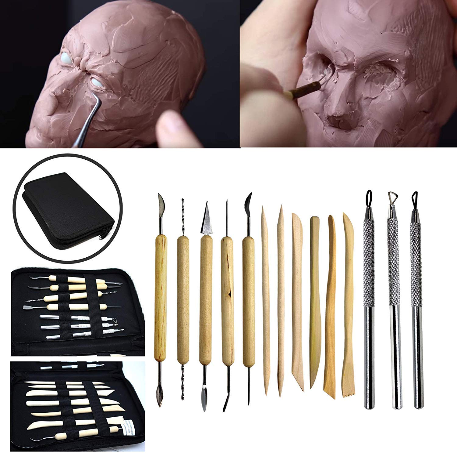 Wax Candles Perfect for Polymer Ceramic Clay 14 pcs Sculpture Tools Clay Double-Sided Design Pottery Tools with Black Nylon Zipped Case Durable Wood /& Quality Metal Clay Modelling Tools