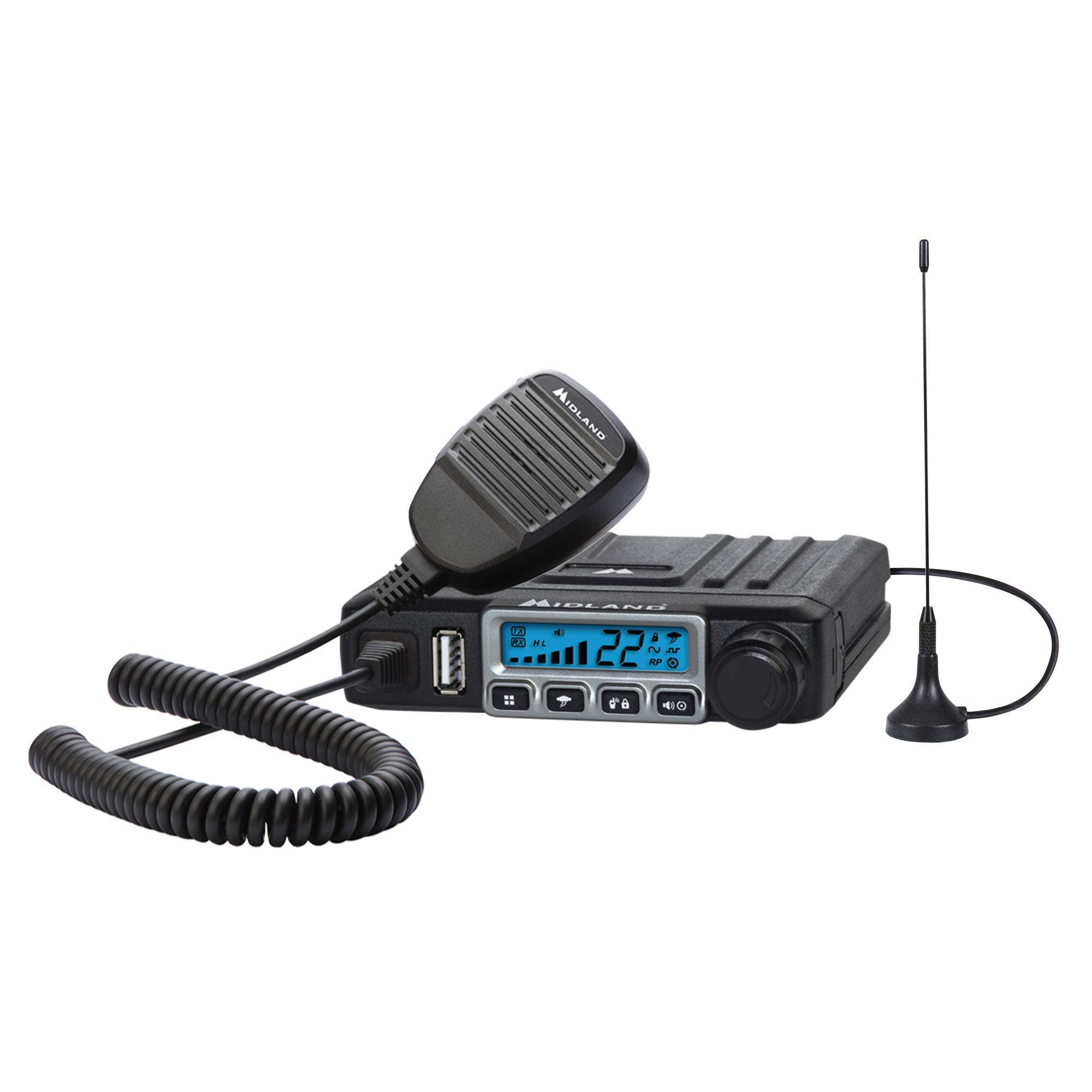 MXT115, 15 Watt GMRS MicroMobile Two-Way Radio - 8 Repeater Channels, 142 Privacy Codes, NOAA Weather Scan + Alert & External Magnetic Mount Antenna (Single Pack) (Black) by Midland