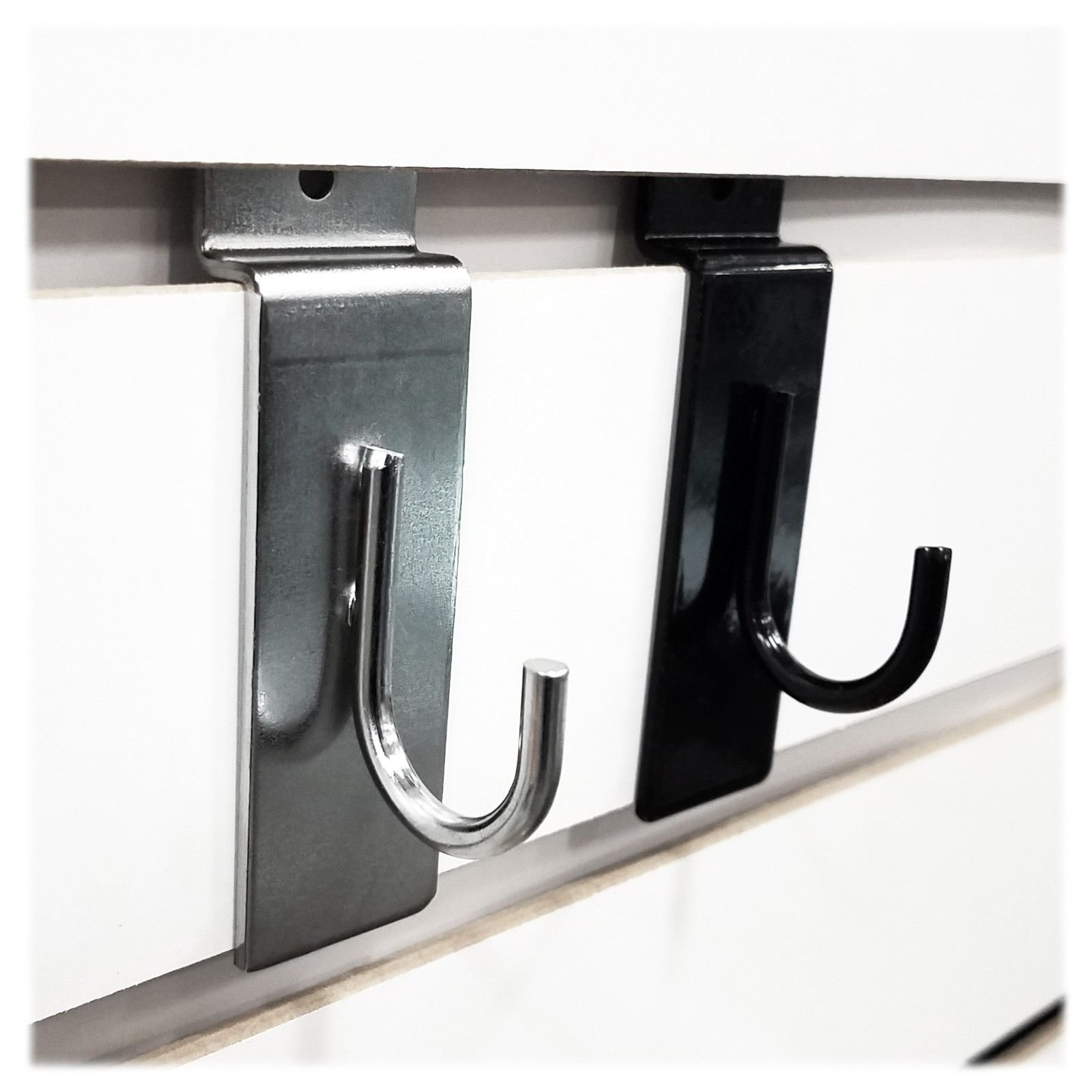 Chrome J-Hook, J Shaped Utility Hanger for Slatwall Displays & Slatgrid Panels - 25 Pack