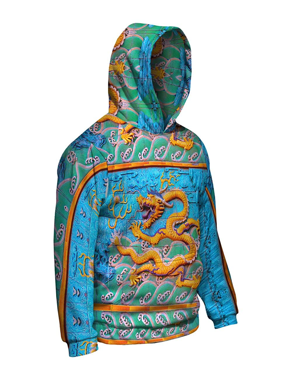 Dragon Wall Mens Hoodie Sweater Allover Print Yizzam