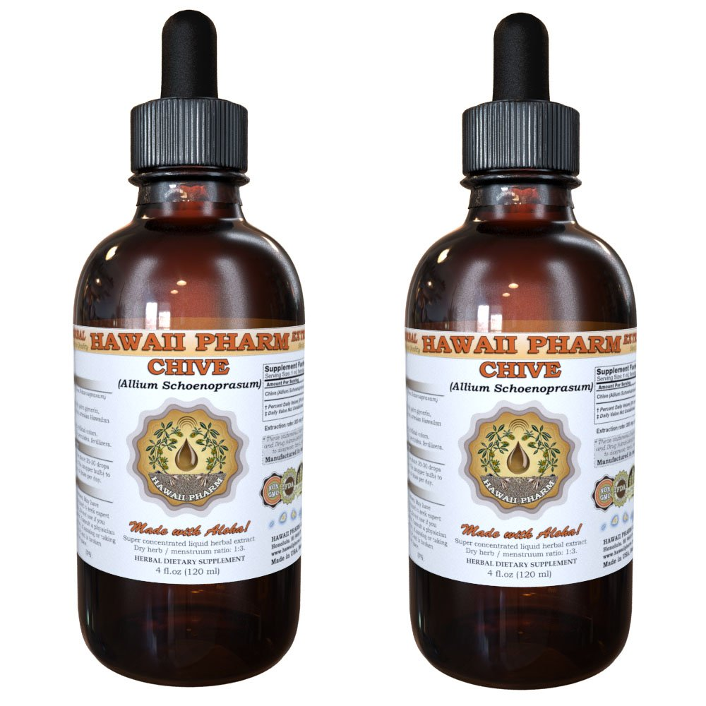 Chive Liquid Extract, Organic Chive (Allium Schoenoprasum) Dried Rings Tincture Supplement 2x2 oz by HawaiiPharm (Image #1)