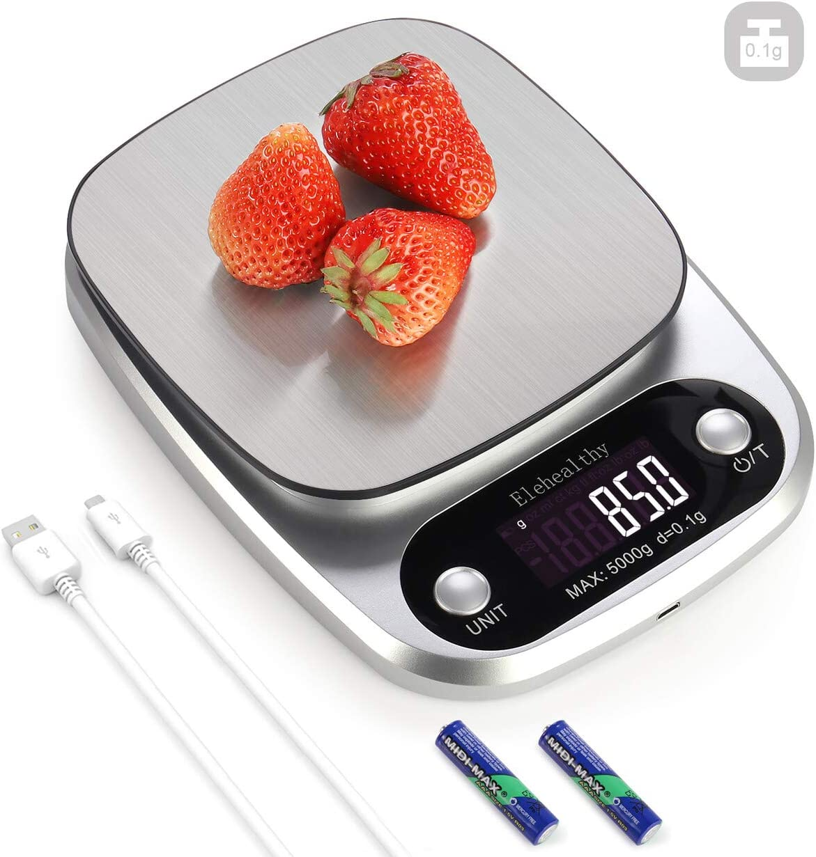 0.1g High Precision Kitchen Scale, Rechargable Food Scale Digital 5KG/11lbs, 9 Measurement Units, Brushed Stainless Steel, 2AAA Batteries included (5KG/0.1g -Silver)