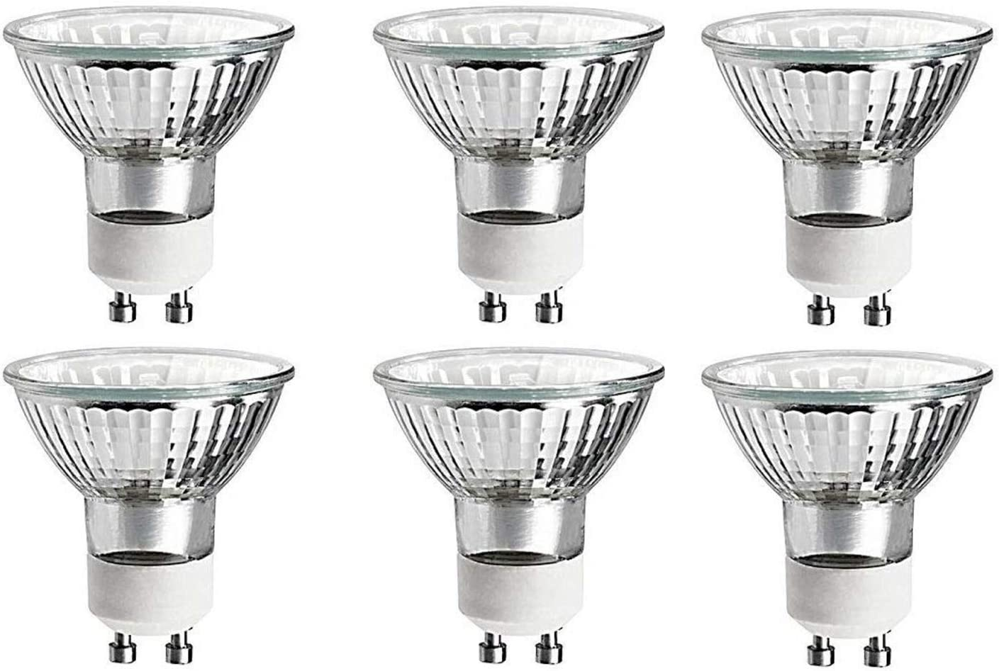 35 Watts Halogen Light Bulb MR16 GU10 Base 35w 120v Reflector Flood Lights for Track Lighting Bulbs and Recessed Cans Spotlights with UV Filter Cover 35MR16/GU10/FL Pack Of 6