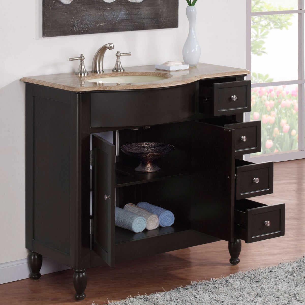 Amazoncom Silkroad Exclusive Off Center Single Left Sink Bathroom - Bathroom vanity with sink on right side