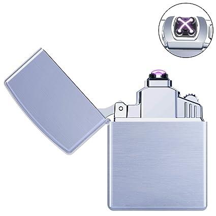 Ommani Arc Encendedo Eléctrico Mechero USB Batería Doble láser sin llama Resistente al Viento Arc Encendedor