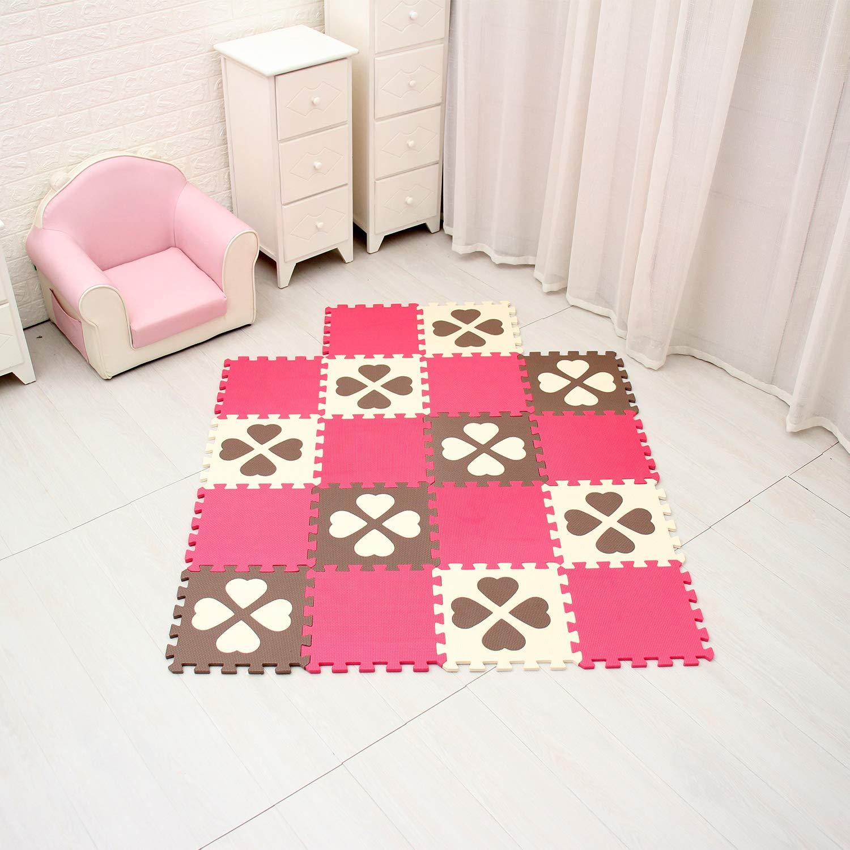 QQPC-27 Flor de Cuatro Hojas /& Blanco 6 Ab18N 30*30*1cm 18 Piezas Suelo de Goma EVA Suave qqpp Alfombra Puzzle para Ni/ños Bebe Infantil