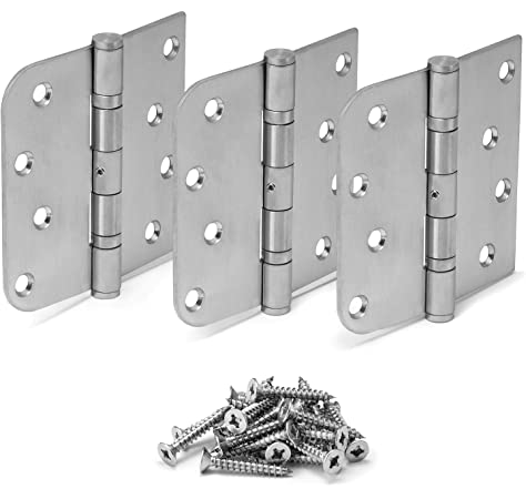 Stanley FBB179 Standard Weight 5 Knuckle Ball Bearing Full Mortise Hinges for Metal Or Wood Doors Pack of 3 4.5 x 4.5, Polish Brass US3