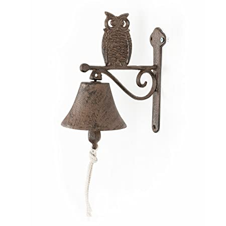 Homescapes Cast Iron Hanging Doorbell With Owl Decoration And Wall Bracket  Traditional Style Rustic Door Bell