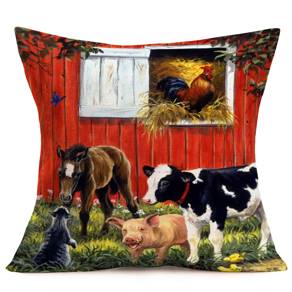 """Hopyeer Vintage Rustic Farm Decor Throw Pillow Covers Cotton Linen AutumnHarvest Farmhouse Animals Cow Pig Horse Rooster Cat Design Square Pillowcase Decor Home Sofa Bed 18""""x18"""" (VR- Animals)"""