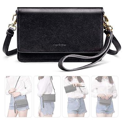2e10b9b6c581 nuoku Women Small Crossbody Bag Cellphone Purse Wallet with RFID Card Slots  2 Strap Wristlet(