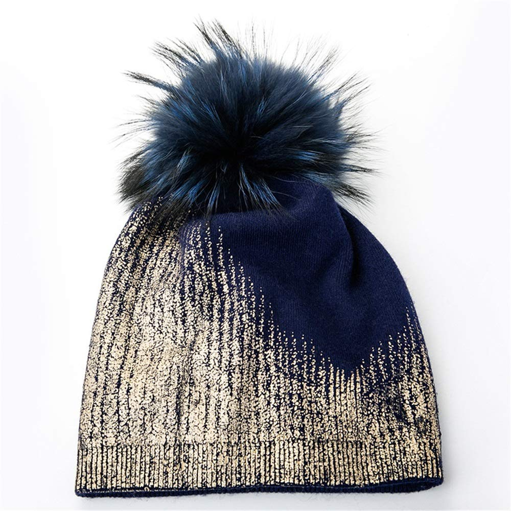 Dig dog bone Female Autumn and Winter Warm Hat with Hair Ball (Color : Blue)