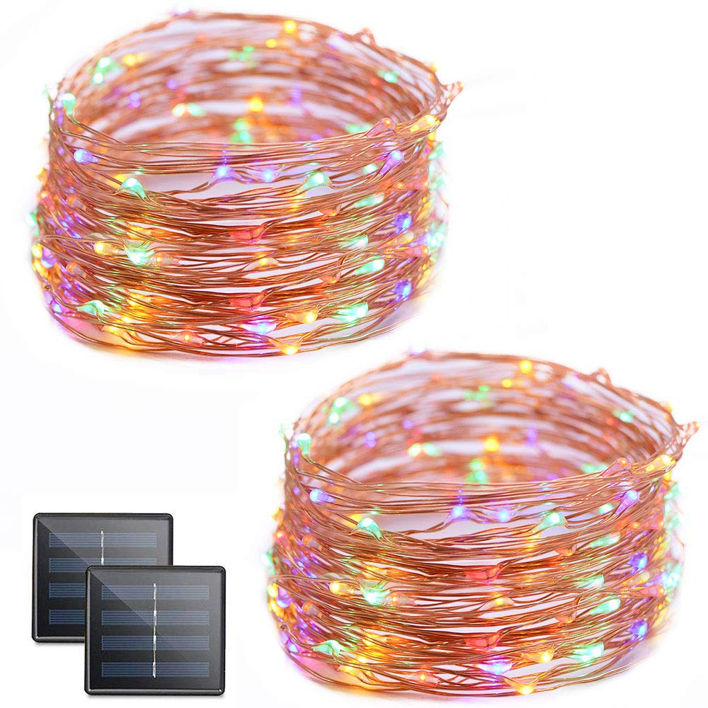 Vmanoo Solar String Lights, 32 Feet 100 LED Starry String Lights Copper Wire, Indoor Outdoor Lighting for Home, Garden, Party, Path, Lawn, Wedding, Christmas, DIY Decoration, 2-Pack (Multicolor)