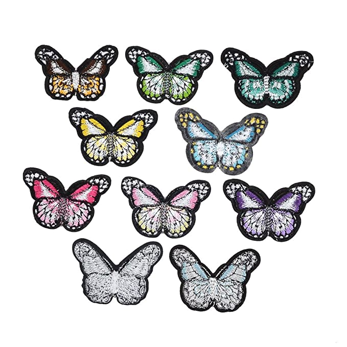 Amazon.com: eDealMax Forma Poliéster Inicio de la Mariposa DIY de Coser ropa de Encaje apliques 10pcs Multicolor