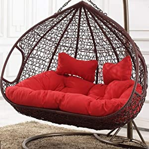 YEARLY Egg Nest Shaped Cushions, Basket Cushion Wicker Rattan Swing Pads Hanging Hammock 2 Persons Seater Zipper Washable no Chairs-red 140x110cm(55x43inch)