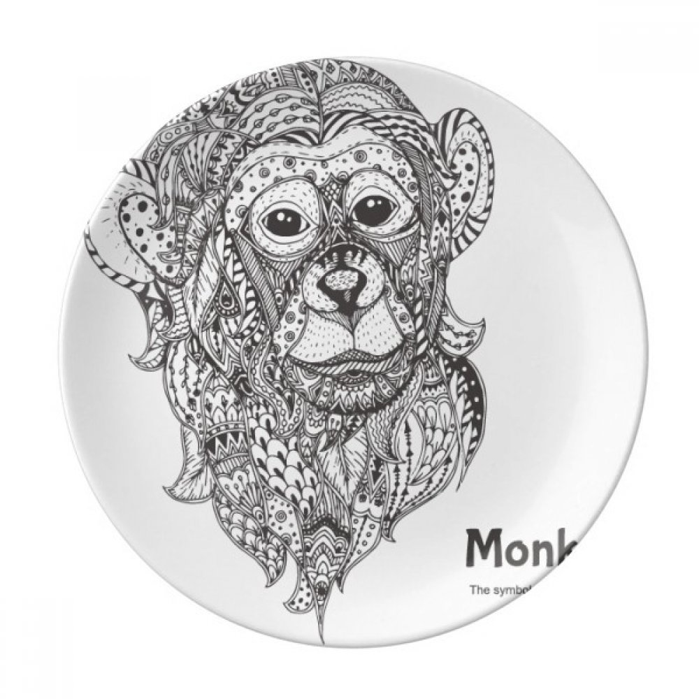 Animal Big Mouth Picture Monkey Dessert Plate Decorative Porcelain 8 inch Dinner Home