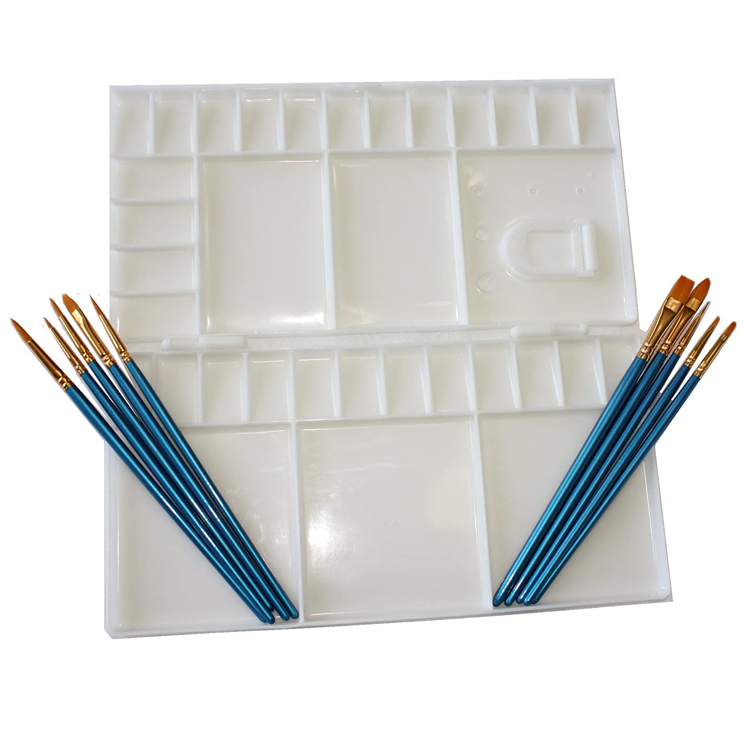 Large Folding watercolor palette with 33 mixing wells, Palette folds in half to for enclosed Palette, and 10 piece Nylon Paint Brush set for Watercolor, Acrylic, and Oil painting art set use. ANC Brands
