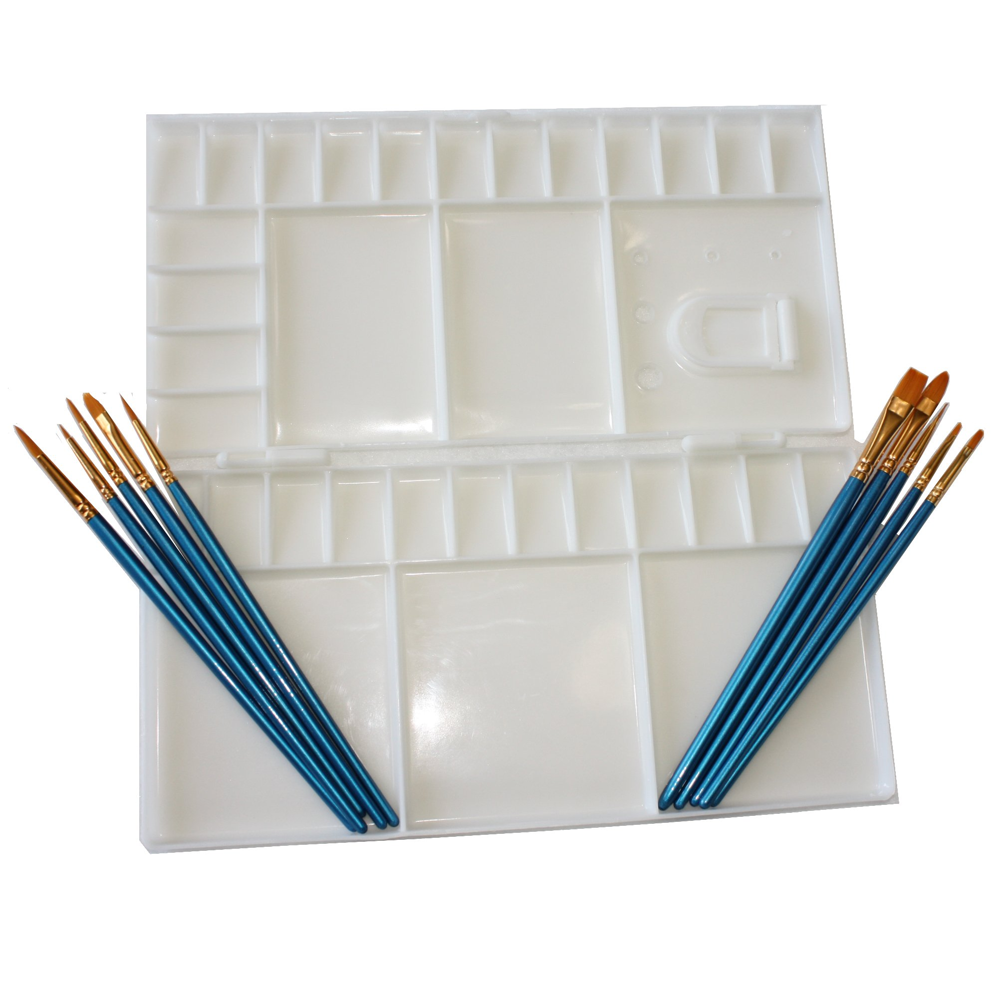 Large Folding watercolor palette with 33 mixing wells, Palette folds in half to for enclosed Palette, and 10 piece Nylon Paint Brush set for Watercolor, Acrylic, and Oil painting art set use.