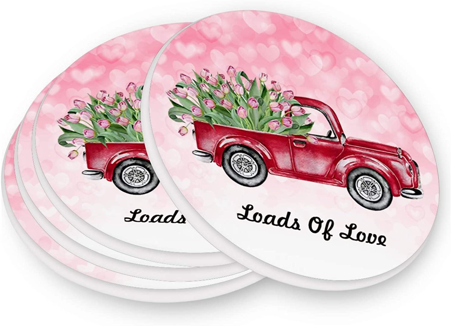 Valentine's Day Red Truck Coasters for Drinks 4 Pieces Set Hearts Rose Flower Bar Cup Coaster Coffee Mug Glass Pad Tabletop Protection Mat for Housewarming Table Kitchen Dining Home Decor