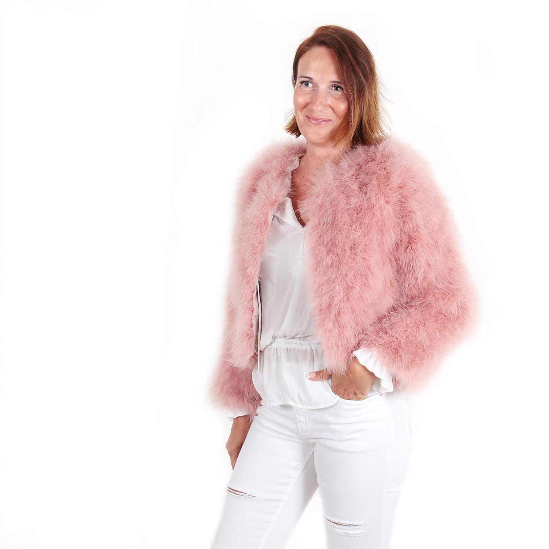 Chaqueta corta de pelo mujer abrigo de pluma auténtica EYES ON MISHA ...