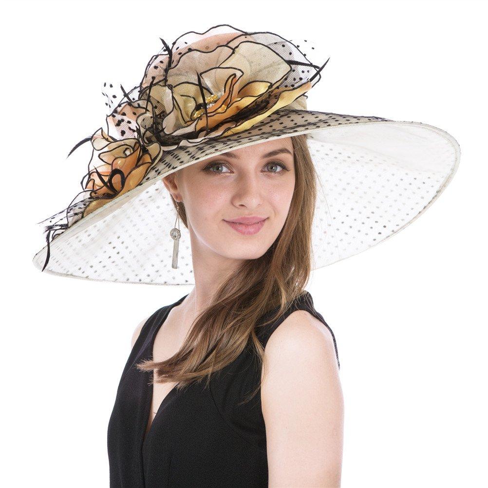 SAFERIN Women's Organza Church Kentucky Derby Fascinator Bridal Tea Party Wedding Hat (GZ-Wide Brim Champagne Dot)