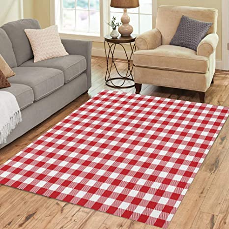 Pinbeam Area Rug Red Gingham And Buffalo Check Plaid Pattern Tablecloths Home Decor Floor Rug 2 X 3 Carpet