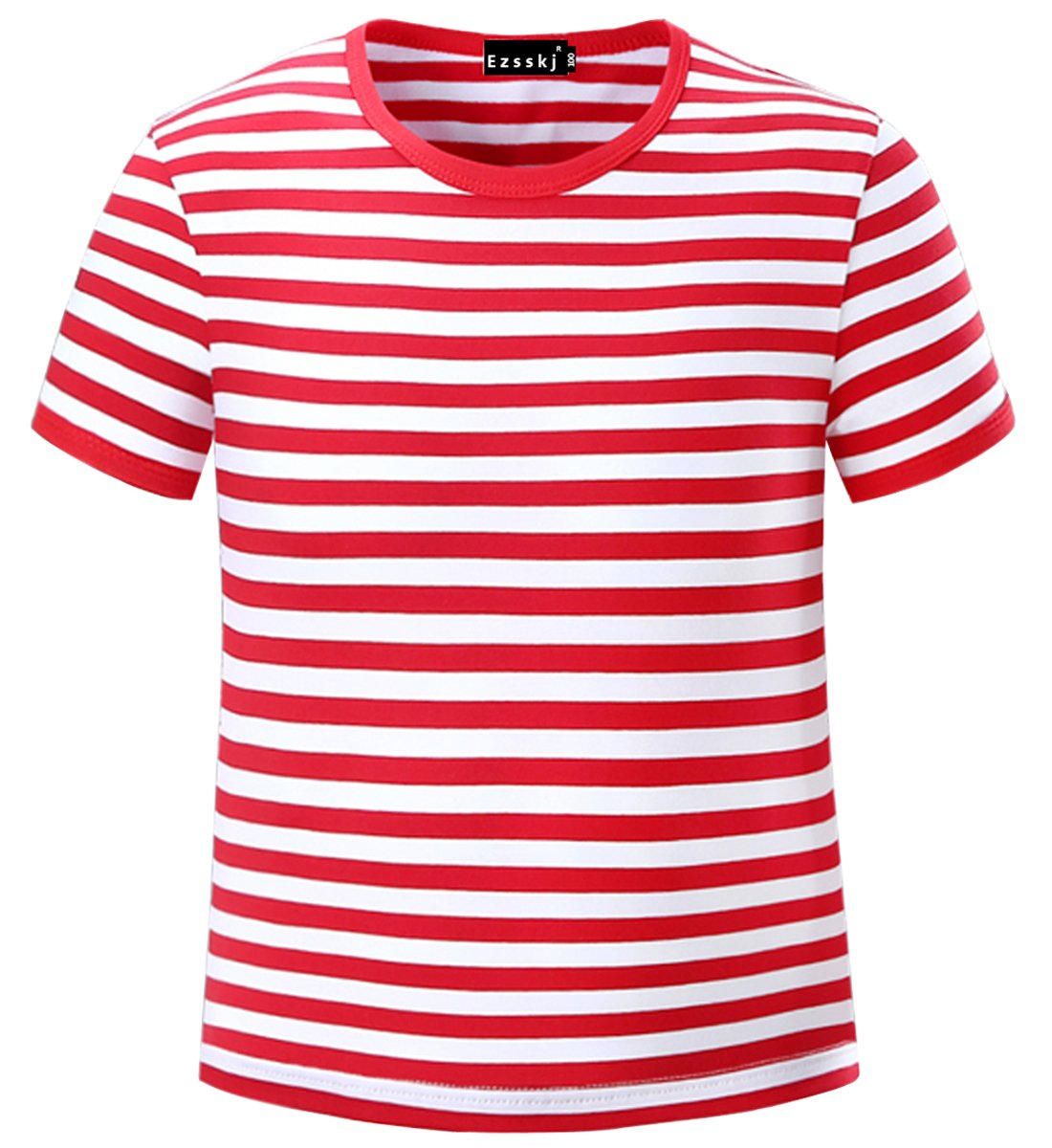 Ezsskj Kids Boys Children's Toddler Striped T Shirts Short Sleeve Crew Neck Stripes Tee MT0001