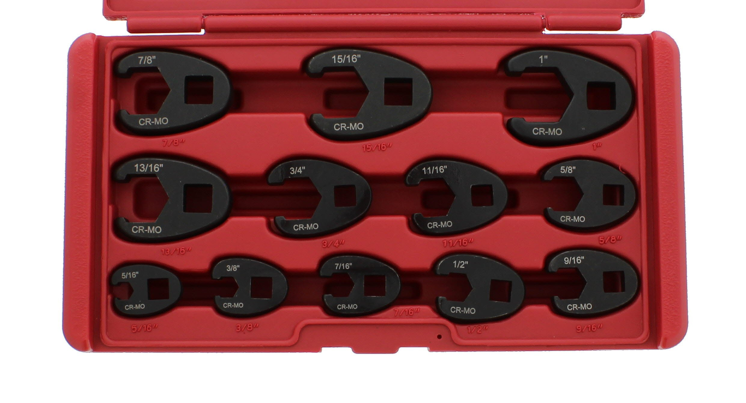 ABN Jumbo Crowfoot Flare Nut Wrench Set SAE Standard 12-Piece Tool Kit for 3/8'' Inch and 1/2'' Inch Drive Ratchet
