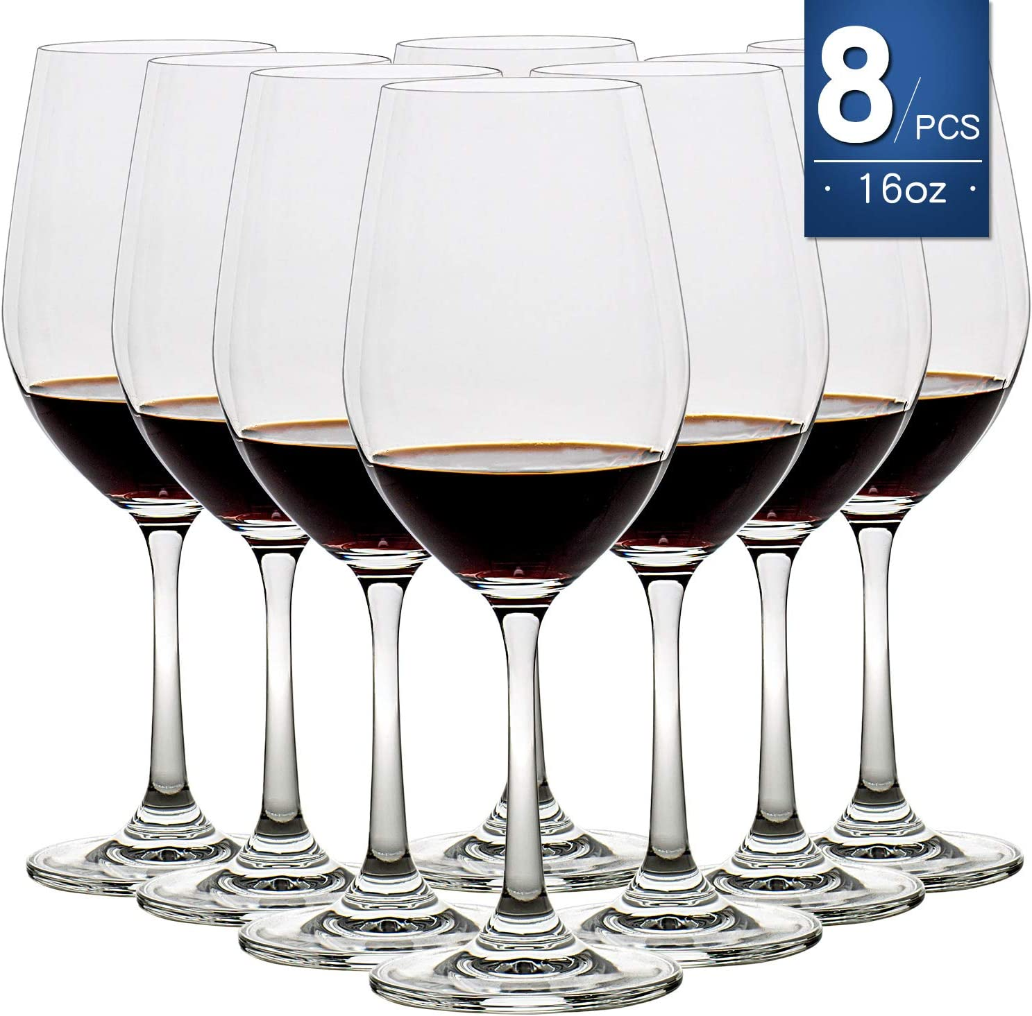 16 Ounce Set of 8,Hand Blown Crystal Wine Glasses Red/White Wine Glass Made from Durable Crystal Glass, Perfect for Any Occasion