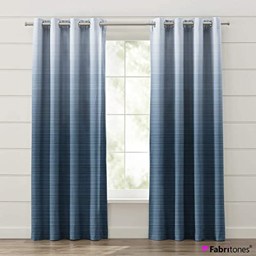 Fabritones Window Curtain Panels 2 Packs Gradient Blue Customized Size Service 50 Blackout Window Draperies for Living Room Bed Room or Office