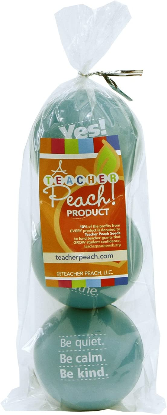 Teacher Peach Motivational Stress Ball Assortment 6 Colors Available 3 Pack Stress Relief Toys for Kids and Adults