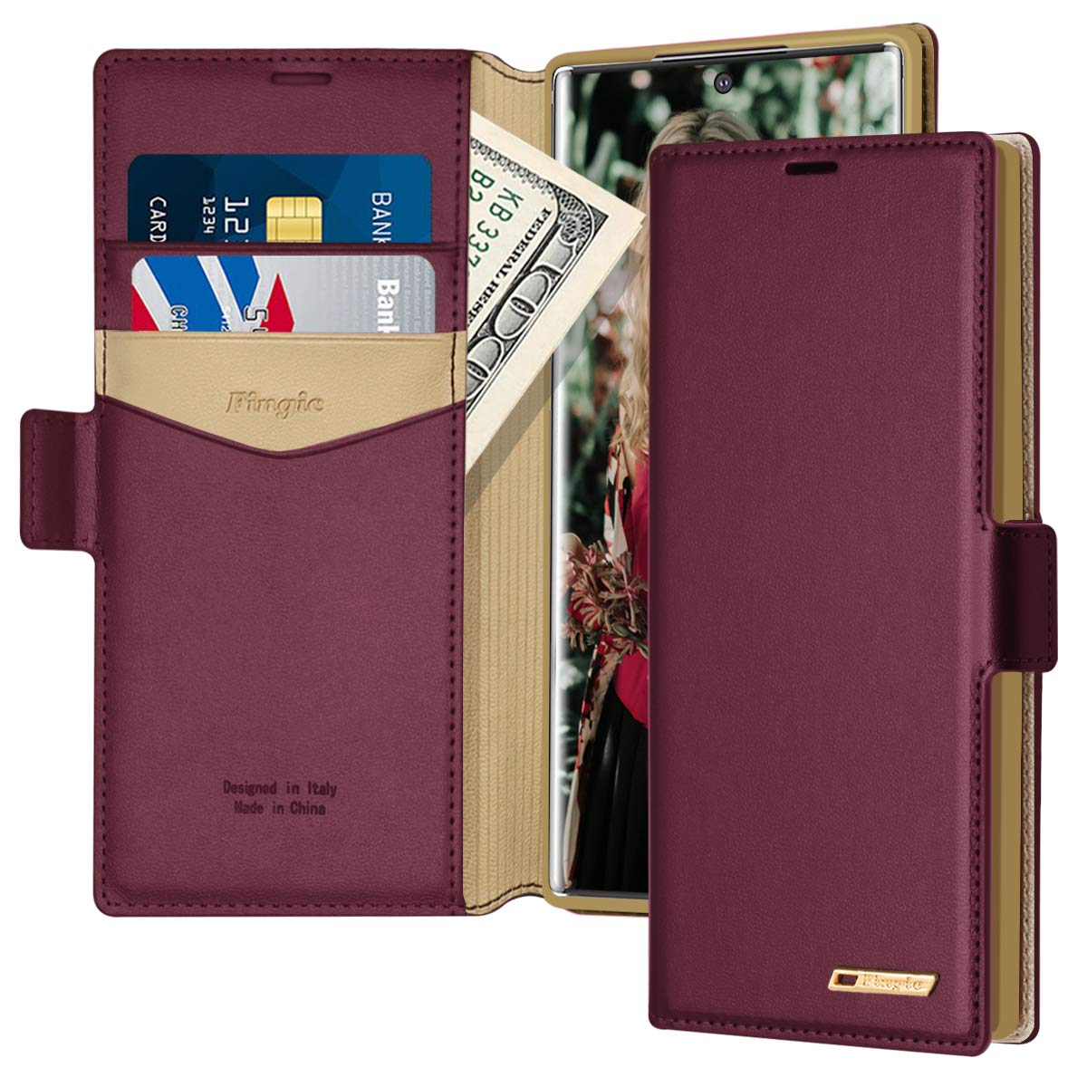 Positive Cover Compatible with Samsung Galaxy Note 10 Plus Purple PU Leather Wallet Flip Case for Samsung Galaxy Note 10 Plus