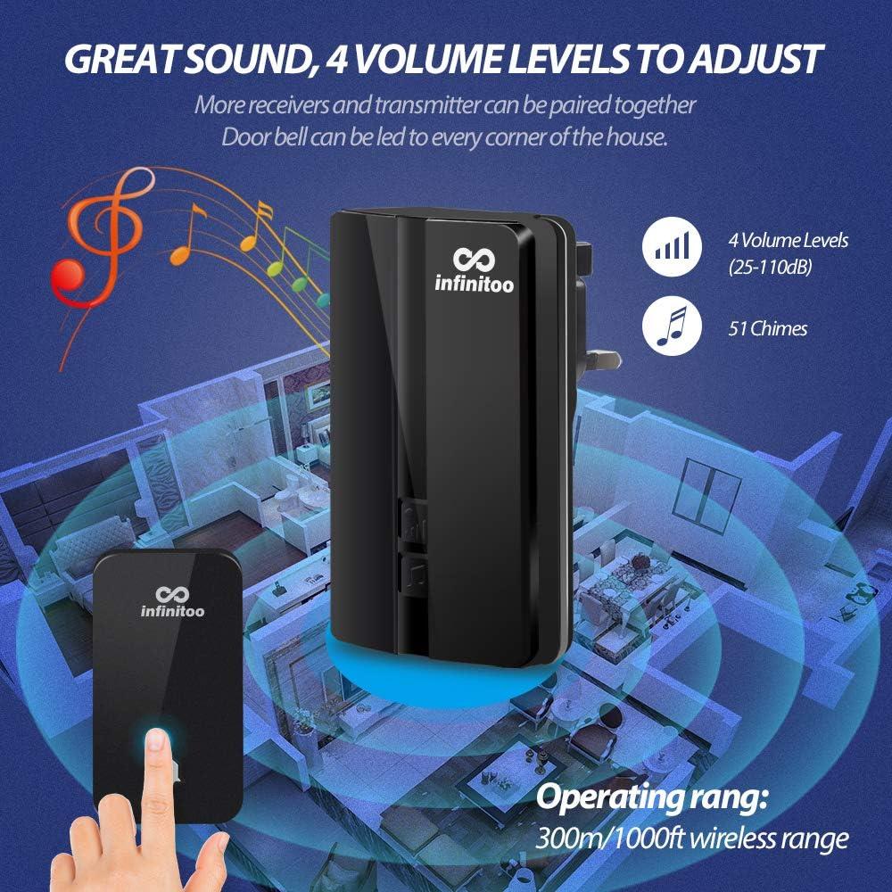 4 niveaux de volume fonctionne /à une port/ée de 500 pieds avec 51 carillons en option Infinitoo Sonnette sans fil IP44 Poof /électrique avec 2 r/écepteurs