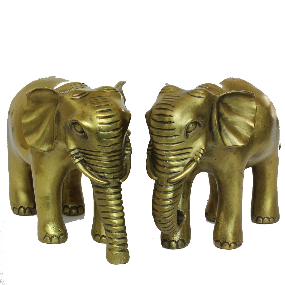 FENGSHUI Handmade Super Unique Elephants Statues Brass Finish Power Collectible Figurines Decoration Gift Pair/2pcs (M'')