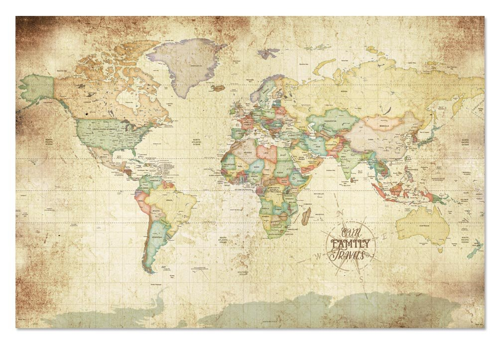 amazoncom old world map world travel pin map vacation art map for grandparents family history map push pin 20x30 posters prints
